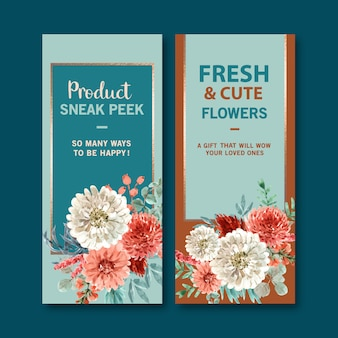 Retro floral banner templates