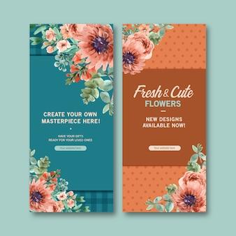 Retro floral banner templates