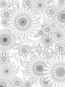 Retro floral coloring page in exquisite line
