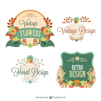 Retro floral graphic elements design Free Vector