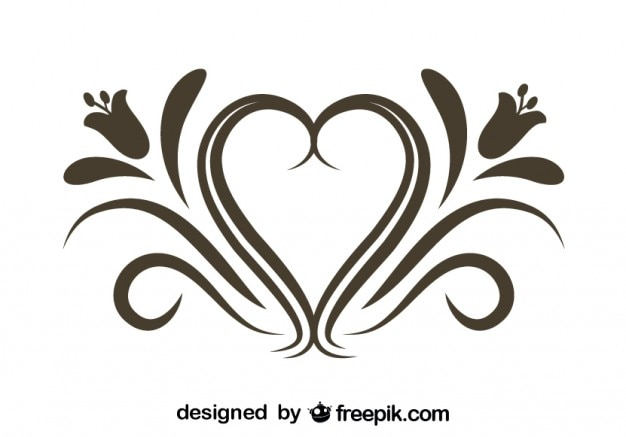 Retro floral heart ornamental graphic element