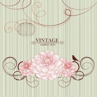 Retro floral illustrator material background vector set