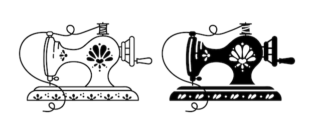 Retro floral and ornate sewing machine black and white isolated clipart illustration