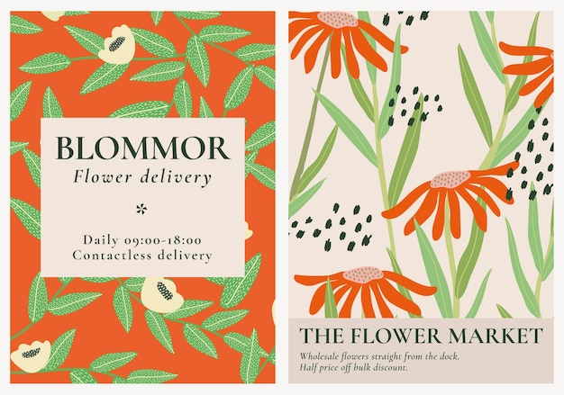 Retro floral patterned template vector set for poster
