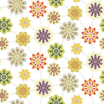 白の上のレトロな花のシームレスなパターンの背景