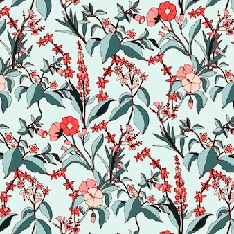 Retro floral seamless pattern in hand drawn botanical style