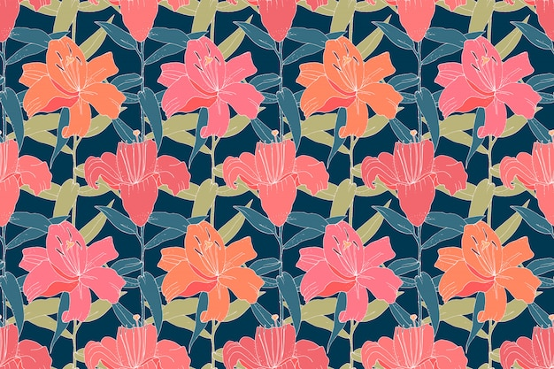 Retro floral seamless pattern. pink lilies with green leaves isolated on navy blue background.