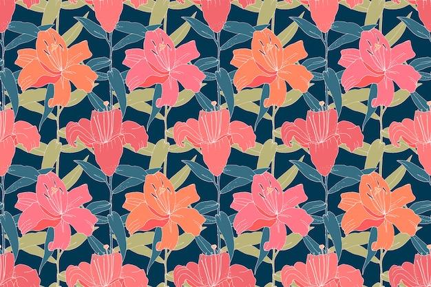 レトロな花柄シームレス。ネイビーブルーの背景に分離された緑の葉とピンクのユリ。