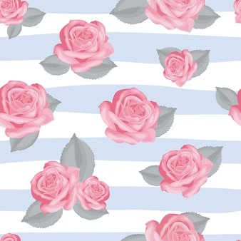 Retro floral seamless pattern. pink roses with leaves on blue and white striped background
