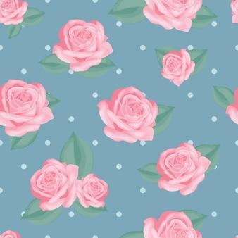 レトロな花のシームレスなパターン。ヴィンテージブルーの水玉の背景に葉のピンクのバラ