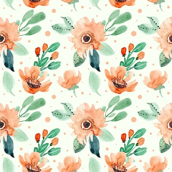 Retro floral watercolor seamless pattern
