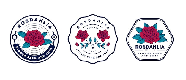 Retro flower and botanical logo template