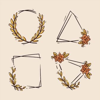 Retro flower frame set