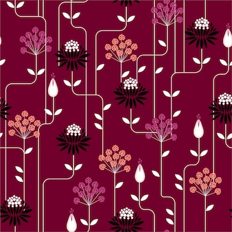 Retro flower seamless pattern in repeat vintage style. design for fashion on fabrics, textile, paper, wallpaper, and all prints