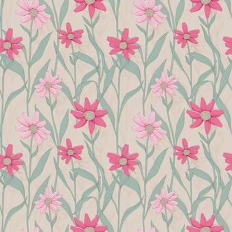 ピンクのデイジーとレトロな花のシームレスなパターン
