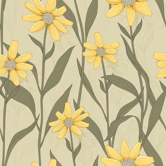 黄色のデイジーとレトロな花のシームレスなパターン