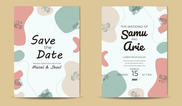 レトロな花の結婚式の招待状ミッドセンチュリーテンプレート