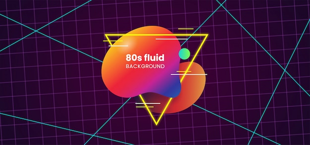 Retro fluid dynamic abstract shape badge label design