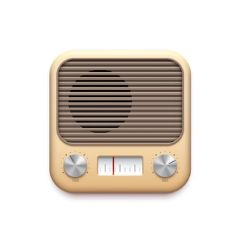 Retro fm radio music app icon with old radio station buttons, vector. vintage fm radio tuner app icon with receiver dials and loudspeaker, podcast channel and streaming audio player application