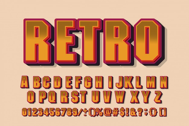 Retro font 90's, 80's with colorful layers and vhs effect.  abc alphabet.