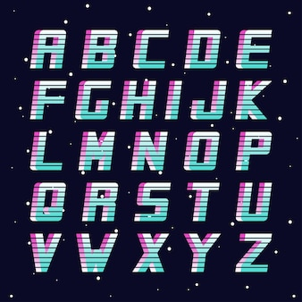 레트로 글꼴 패션 8090 년대 벡터 영어 알파벳 미래의 라틴 문자