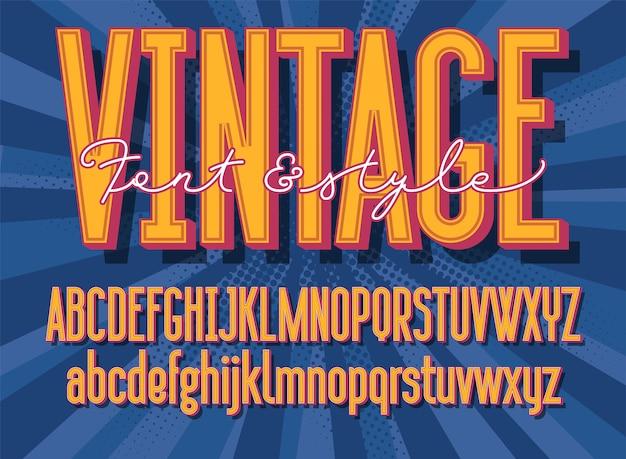 Retro font and graphic style. 3d vintage alphabet letters.