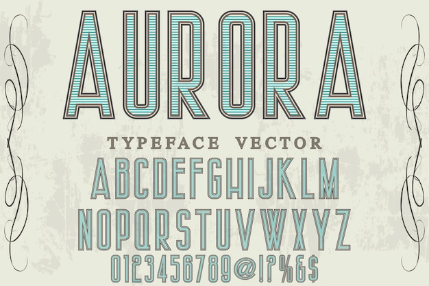 Retro font label design aurora