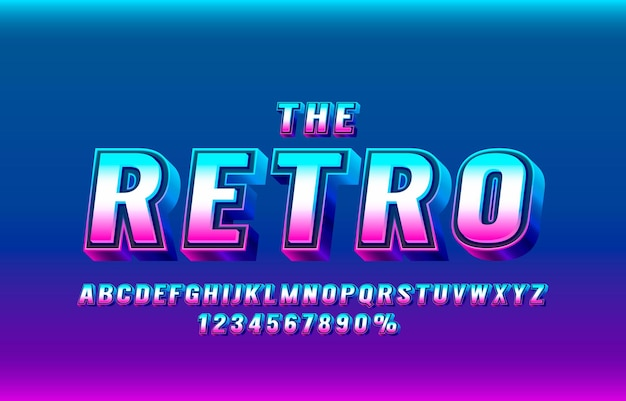 The retro font set collection letters and numbers symbol vector