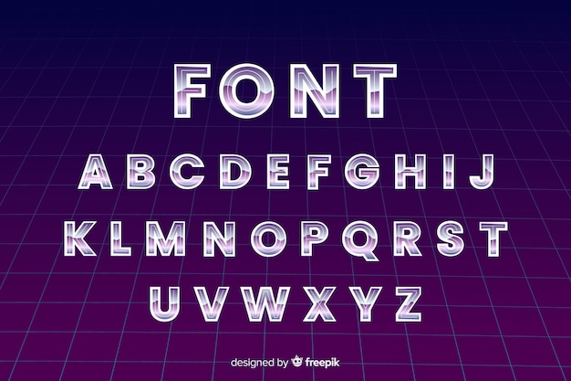 Retro font template flat design