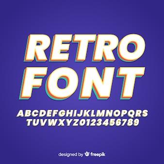 Retro font template flat design