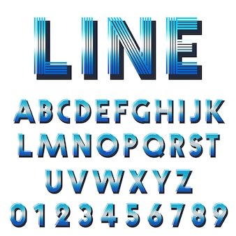 Retro font template. set of letters and numbers lines design.