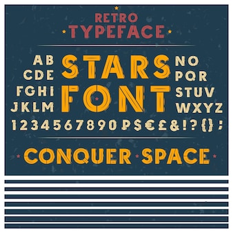 Retro font, the Latin alphabet, uppercase, capital letters, numbers