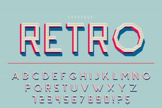 Ретро шрифт шрифт алфавит