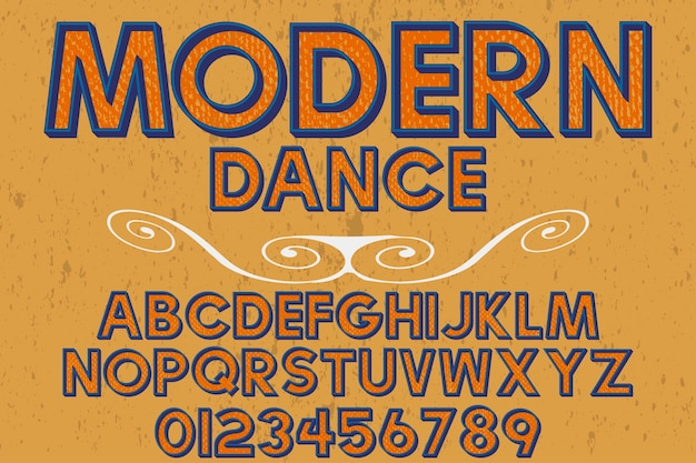 Retro font typography design modern dance