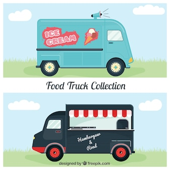 Retro food trucks of ice-cream and burger