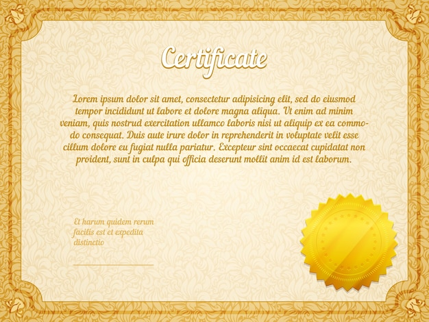 Retro frame certificate with golden seal vector