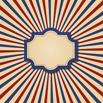 Retro frame in vintage style, with red and blue stripes