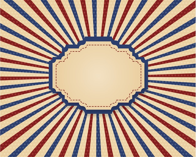 Retro frame in vintage style with red and blue stripes