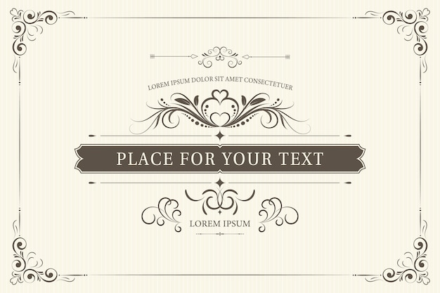 Retro frame for wedding invitations or other design and place for text