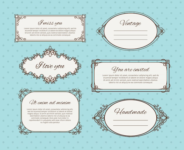 Retro frames or vintage frames with text