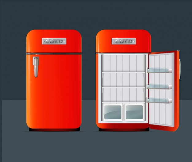 Retro fridge on grey