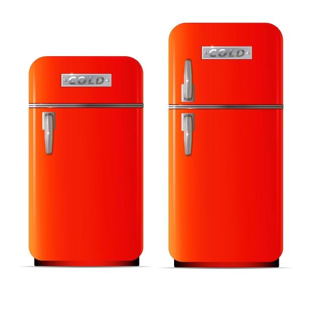 レトロな冷蔵庫のアイコンレトロな冷蔵庫のベクトルアイコンのフラットイラスト