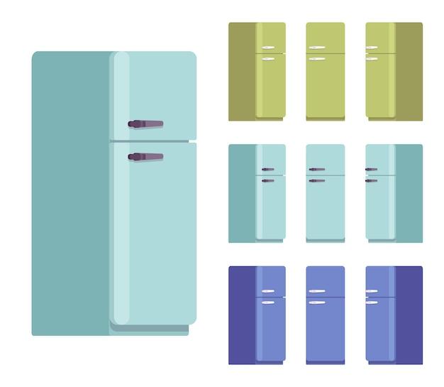 Retro fridge set, kitchen equipment