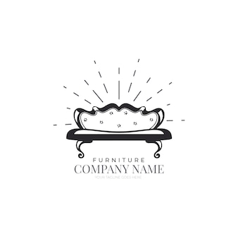 Концепция шаблона логотипа ретро мебель