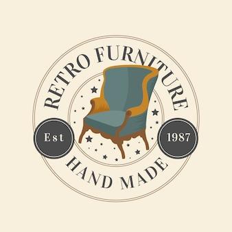 Ретро мебель логотип шаблон темы