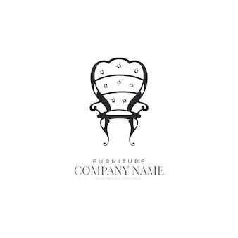 レトロな家具のロゴのテンプレート