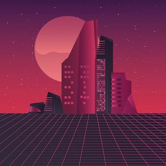 Ретро будущее этикетка со сценой зданий