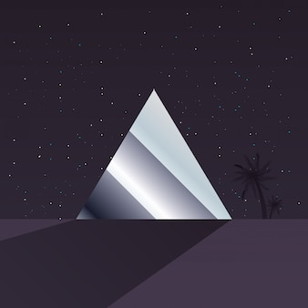 Retro future label with geometric figures