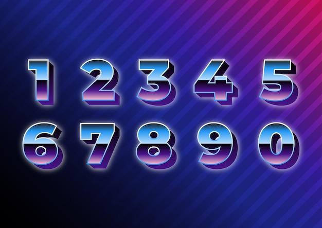 Retro future metallic numbers set