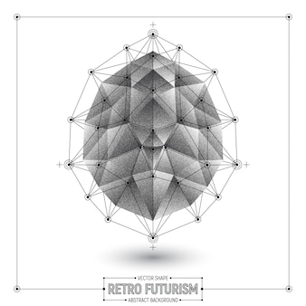 Retro futurism abstract polygonal vector 3d shape